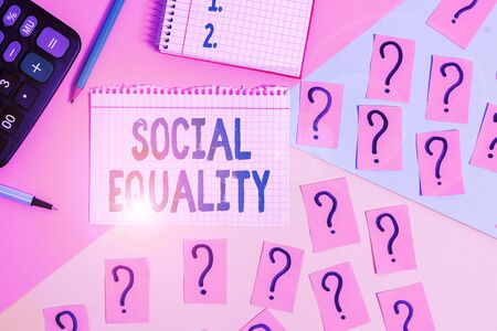 Text sign showing Social Equality. Business photo showcasing applies concerns of justice and fairness to social policy Mathematics stuff and writing equipment above pastel colours background