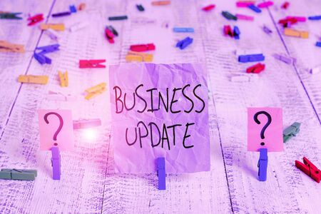 Word writing text Business Update. Business photo showcasing the act of adding new information or changing its design Scribbled and crumbling sheet with paper clips placed on the wooden table Archivio Fotografico