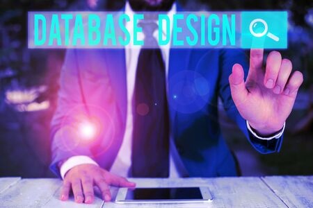 Word writing text Database Design. Business photo showcasing organisation of data according to a database model