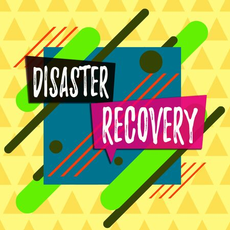 Text sign showing Disaster Recovery. Business photo showcasing helping showing affected by a serious damaging event Asymmetrical uneven shaped format pattern object outline multicolour design