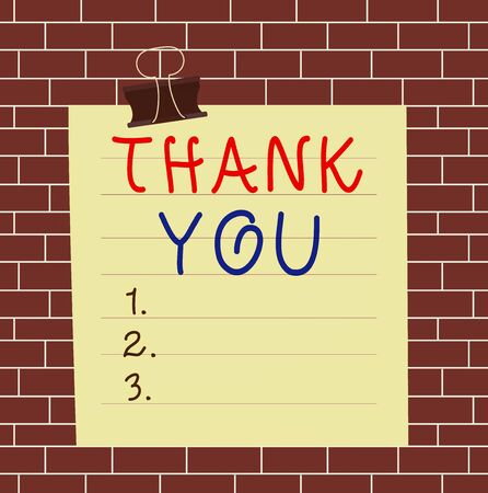 Text sign showing Thank You. Business photo showcasing polite expression used when acknowledging gift service compliment Paper lines binder clip cardboard blank square notebook color background