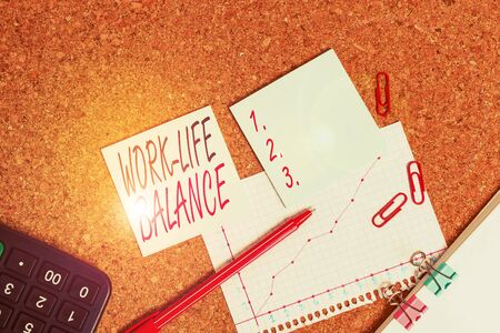 Word writing text Work Life Balance. Business photo showcasing time allocated for work and aspects of life are equal Desk notebook paper office cardboard paperboard study supplies table chart