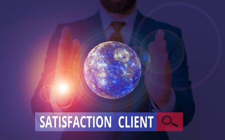 Text sign showing Satisfaction Client. Business photo showcasing benefits which customers get from purchasing products Imagens