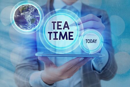 Text sign showing Tea Time. Business photo text the time in the afternoon when some showing eat a small meal