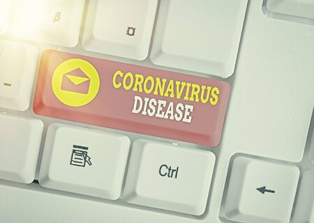 Word writing text Coronavirus Disease. Business photo showcasing defined as illness caused by a novel virus SARSCoV2