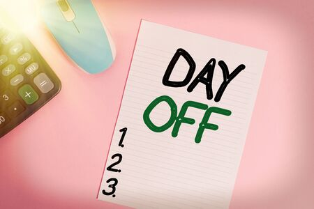 Handwriting text writing Day Off. Conceptual photo when you do not go to work even though it is usually a working day Electronic calculator device wire mouse striped sheet colored background