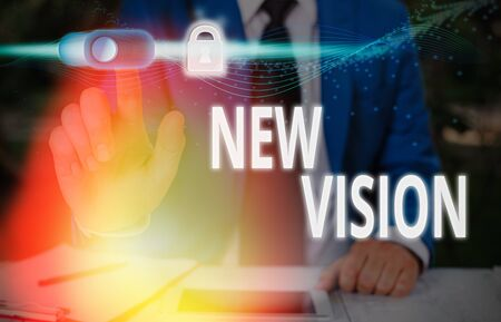 Word writing text New Vision. Business photo showcasing seeing some future developments Hopeful about the future