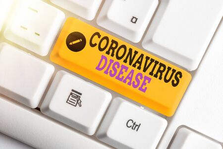 Conceptual hand writing showing Coronavirus Disease. Concept meaning defined as illness caused by a novel virus SARSCoV2 Banco de Imagens