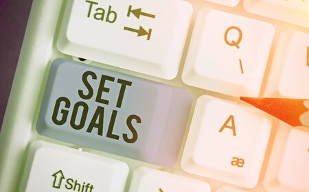 Word writing text Set Goals. Business photo showcasing Defining or achieving something in the future based on plan