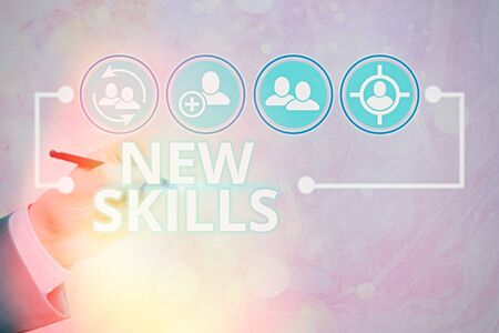 Word writing text New Skills. Business photo showcasing Recently Acquired Learned Abilities Knowledge Competences