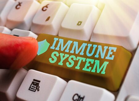 Writing note showing Immune System. Business concept for Complex network work together to defend against germs Stock Photo