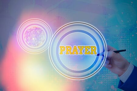 Text sign showing Prayer. Business photo text solemn request for help or expression of thanks addressed to God