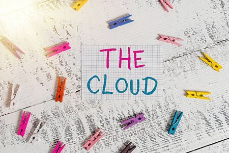 Text sign showing The Cloud. Business photo showcasing Programs used in Storing Accessing data over the internet Colored clothespin rectangle square shaped paper white wood background