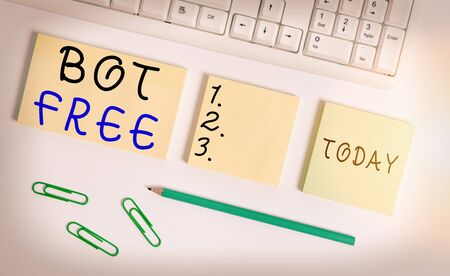 Text sign showing Bot Free. Business photo text a computer program that works automatically Internet robots Flat lay above blank copy space sticky notes with business concept