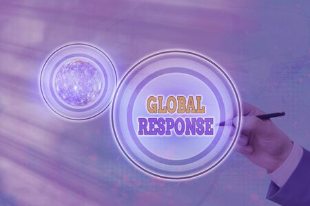 Text sign showing Global Response. Business photo text indicates the behaviour of material away from impact point