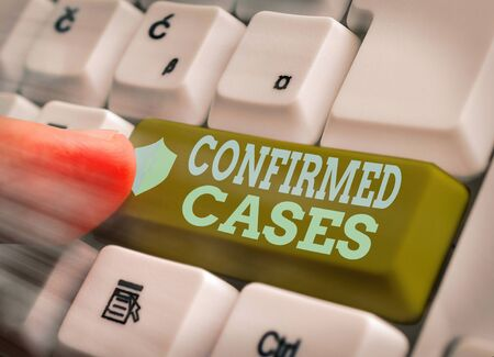 Writing note showing Confirmed Cases. Business concept for set of circumstances or conditions requiring action Reklamní fotografie