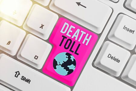 Writing note showing Death Toll. Business concept for the number of deaths resulting from a particular incident