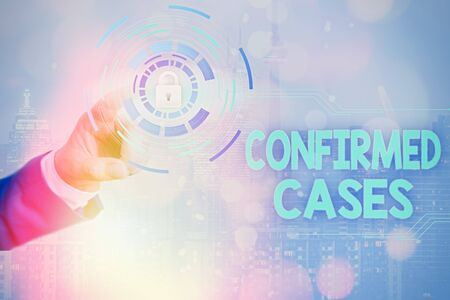 Writing note showing Confirmed Cases. Business concept for set of circumstances or conditions requiring action