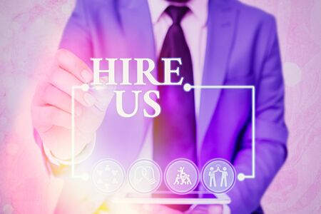 Handwriting text writing Hire Us. Conceptual photo Used by resources indicate employee that he is got job