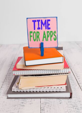 Writing note showing Time For Apps. Business concept for make use of application or services using the technologies pile stacked books notebook pin color reminder white wooden