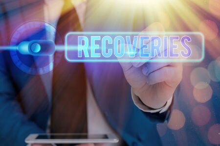 Writing note showing Recoveries. Business concept for process of regaining possession or control of something lost