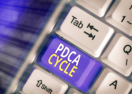 Word writing text Pdca Cycle. Business photo showcasing use to control and continue improve the processes and products 写真素材