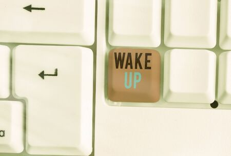 Word writing text Wake Up. Business photo showcasing an instance of a demonstrating waking up or being woken up Rise up
