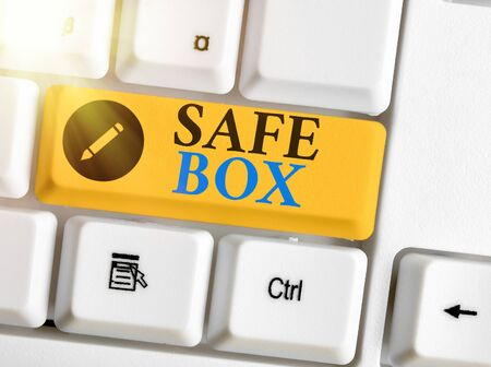Conceptual hand writing showing Safe Box. Concept meaning A small structure where you can keep important or valuable things Stockfoto