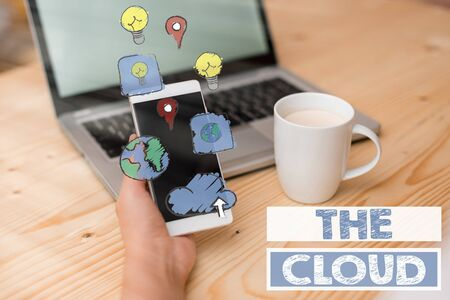 Text sign showing The Cloud. Business photo text Programs used in Storing Accessing data over the internet