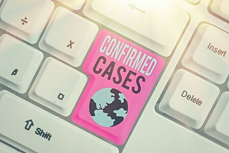 Writing note showing Confirmed Cases. Business concept for set of circumstances or conditions requiring action Banco de Imagens