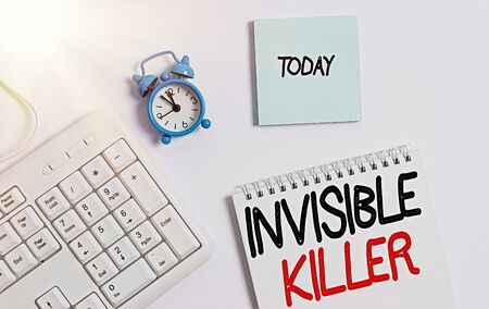 Word writing text Invisible Killer. Business photo showcasing presence into the air of a substance which are harmful White pc keyboard with empty note paper and pencil above white background Фото со стока