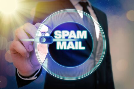 Writing note showing Spam Mail. Business concept for Intrusive advertising Inappropriate messages sent on the Internet Banco de Imagens