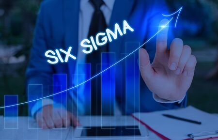 Conceptual hand writing showing Six Sigma. Concept meaning set of management techniques intended to improve business process