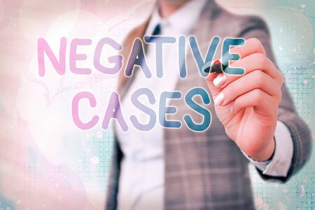 Word writing text Negative Cases. Business photo showcasing circumstances or conditions that are confurmed to be false