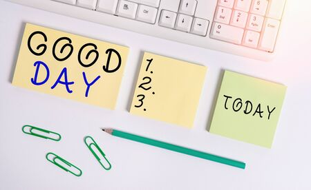 Text sign showing Good Day. Business photo text Enjoying the moment with great weather Having lots of fun Flat lay above blank copy space sticky notes with business concept