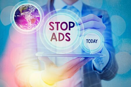 Text sign showing Stop Ads. Business photo text program that will remove different kinds of advertising from Web .