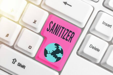 Writing note showing Sanitizer. Business concept for liquid or gel generally used to decrease infectious agents Foto de archivo