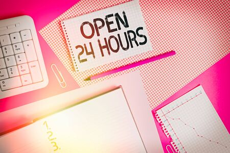 Word writing text Open 24 Hours. Business photo showcasing available all day and all night without closing or stopping Writing equipments and computer stuffs placed above colored plain table