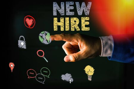 Word writing text New Hire. Business photo showcasing someone who has not previously been employed by the organization