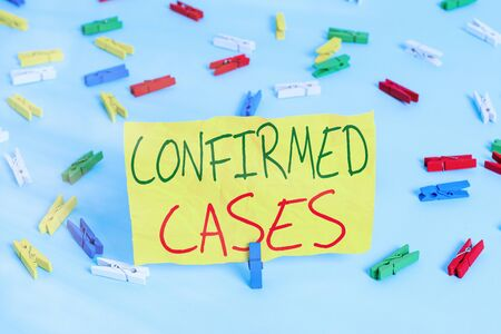 Handwriting text writing Confirmed Cases. Conceptual photo set of circumstances or conditions requiring action Colored clothespin papers empty reminder blue floor background office pin