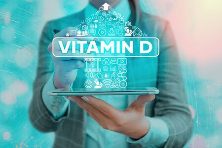 Word writing text Vitamin D. Business photo showcasing Nutrient responsible for increasing intestinal absorption Banque d'images - 144928554