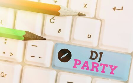 Writing note showing Dj Party. Business concept for demonstrating who introduces and plays recorded popular music on radio