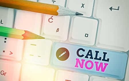 Writing note showing Call Now. Business concept for To immediately contact a demonstrating using telecom devices with accuracy
