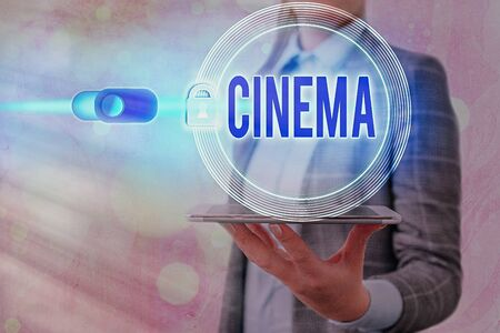 Text sign showing Cinema. Business photo showcasing theater where movies are shown for public entertainment Movie theater 版權商用圖片