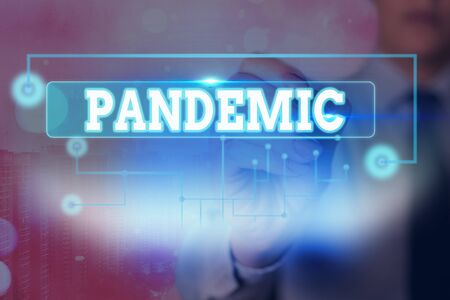 Text sign showing Pandemic. Business photo text occurring over a wide area affecting high proportion of population