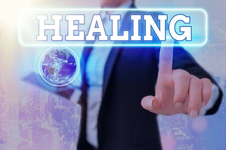 Writing note showing Healing. Business concept for process of making or becoming sound or healthy again Helping injured