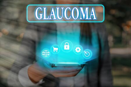 Text sign showing Glaucoma. Business photo text Eye diseases which result in damage to the optic nerve Vision loss 版權商用圖片
