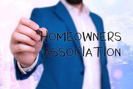 Handwriting text Homeowners Association. Conceptual photo Organization with fee for upkeeps of Gated Community