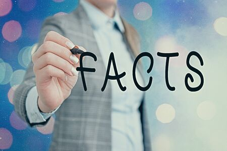 Word writing text Facts. Business photo showcasing information used as evidence or part of report news article blog
