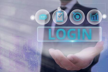 Word writing text Login. Business photo showcasing Entering website Blog using username and password Registration